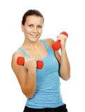 Pretty girl with barbells Stock Photos