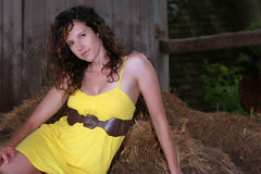 Pretty Girl in a Barn Stock Photography
