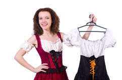 Pretty girl with bavarian clothing isolated on Royalty Free Stock Image