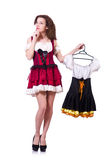 Pretty girl with bavarian clothing isolated on Stock Image