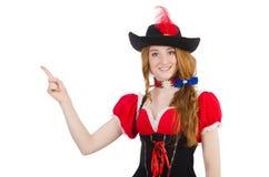 Pretty girl in bavarian dress on white Stock Image
