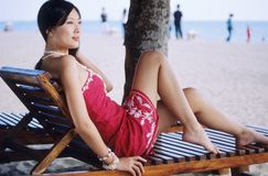Pretty girl on beach royalty free stock image
