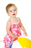 Pretty girl with beach ball Stock Image