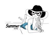 Pretty girl on beach. A pretty girl,cartoon art Royalty Free Stock Photography