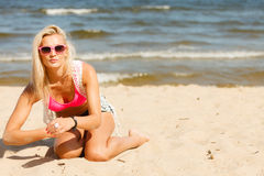 Pretty girl on beach. Royalty Free Stock Photography