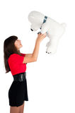 Pretty girl with bear toy Royalty Free Stock Photography