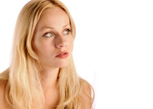 Pretty girl. Beautiful blonde with big eyes royalty free stock photography