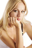 Pretty girl. Beautiful blonde with big eyes stock photography