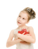 Pretty girl in  with a gift Stock Images