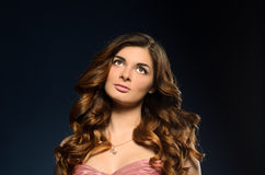 Pretty girl with beautiful hair and professional makeup stock images