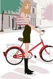 Pretty girl and bicycle stock photos