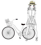 Pretty girl and bicycle Royalty Free Stock Images