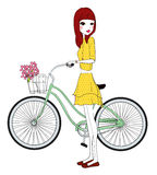 Pretty girl with bicycle. Illustration of pretty girl with bicycle Stock Photography