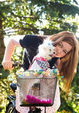 Pretty girl with bicycle and Maltese dog Royalty Free Stock Images