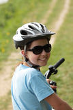 Pretty girl on bike Royalty Free Stock Images