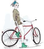 Pretty girl and bike Stock Photo