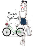 Pretty girl and bike Royalty Free Stock Images