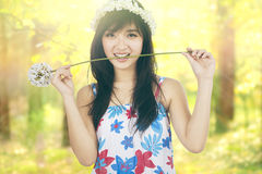 Pretty girl bites a dandelion in nature Royalty Free Stock Photo