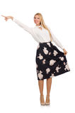 Pretty girl in black skirt with flowers isolated Royalty Free Stock Image