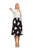 Pretty girl in black skirt with flowers isolated Royalty Free Stock Photos