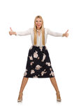 Pretty girl in black skirt with flowers isolated Stock Photo