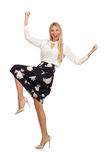 Pretty girl in black skirt with flowers isolated Royalty Free Stock Photo