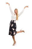 The pretty girl in black skirt with flowers Royalty Free Stock Image