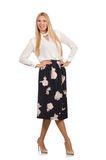 The pretty girl in black skirt with flowers Royalty Free Stock Photos