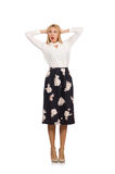 The pretty girl in black skirt with flowers Royalty Free Stock Photo