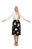 The pretty girl in black skirt with flowers Royalty Free Stock Photography