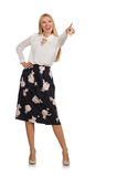 Pretty girl in black skirt with flowers isolated Stock Images