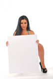 Pretty girl with blank notice board Stock Images