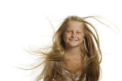 The pretty girl the blonde with flying hair Royalty Free Stock Photos