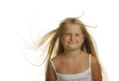 The pretty girl the blonde with flying hair Stock Image