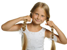 Pretty girl the blonde holding itself for braid Royalty Free Stock Photography