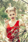 Pretty girl in blossom Royalty Free Stock Images