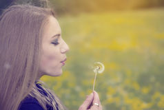 Pretty girl blowing a dandelion Royalty Free Stock Images