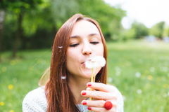 Pretty girl blowing dandelion in summer park. Green grass beautiful nature Stock Photos