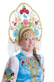 Pretty girl in blue russian costume Royalty Free Stock Images