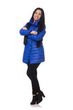 Pretty girl in blue winter jacket isolated on Stock Photos