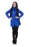 Pretty girl in blue winter jacket isolated on Stock Photo
