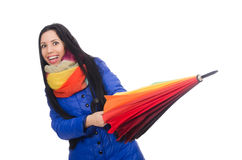 Pretty girl in blue winter jacket isolated on Royalty Free Stock Photography