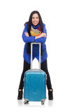 Pretty girl in blue winter jacket with suitcase Royalty Free Stock Images