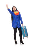 Pretty girl in blue winter jacket with suitcase Stock Photo