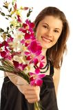 Pretty girl with a bouquet. Isolated on white Royalty Free Stock Photo
