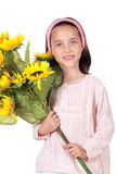 Pretty girl with a bouquet of sunflowers Royalty Free Stock Photo