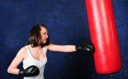 Pretty girl boxing Stock Photo