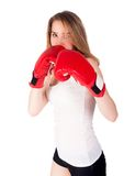Pretty girl with boxing gloves Royalty Free Stock Photo