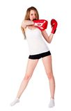 Pretty girl with boxing gloves Stock Photo
