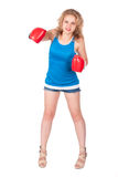Pretty girl in boxing gloves Royalty Free Stock Photos